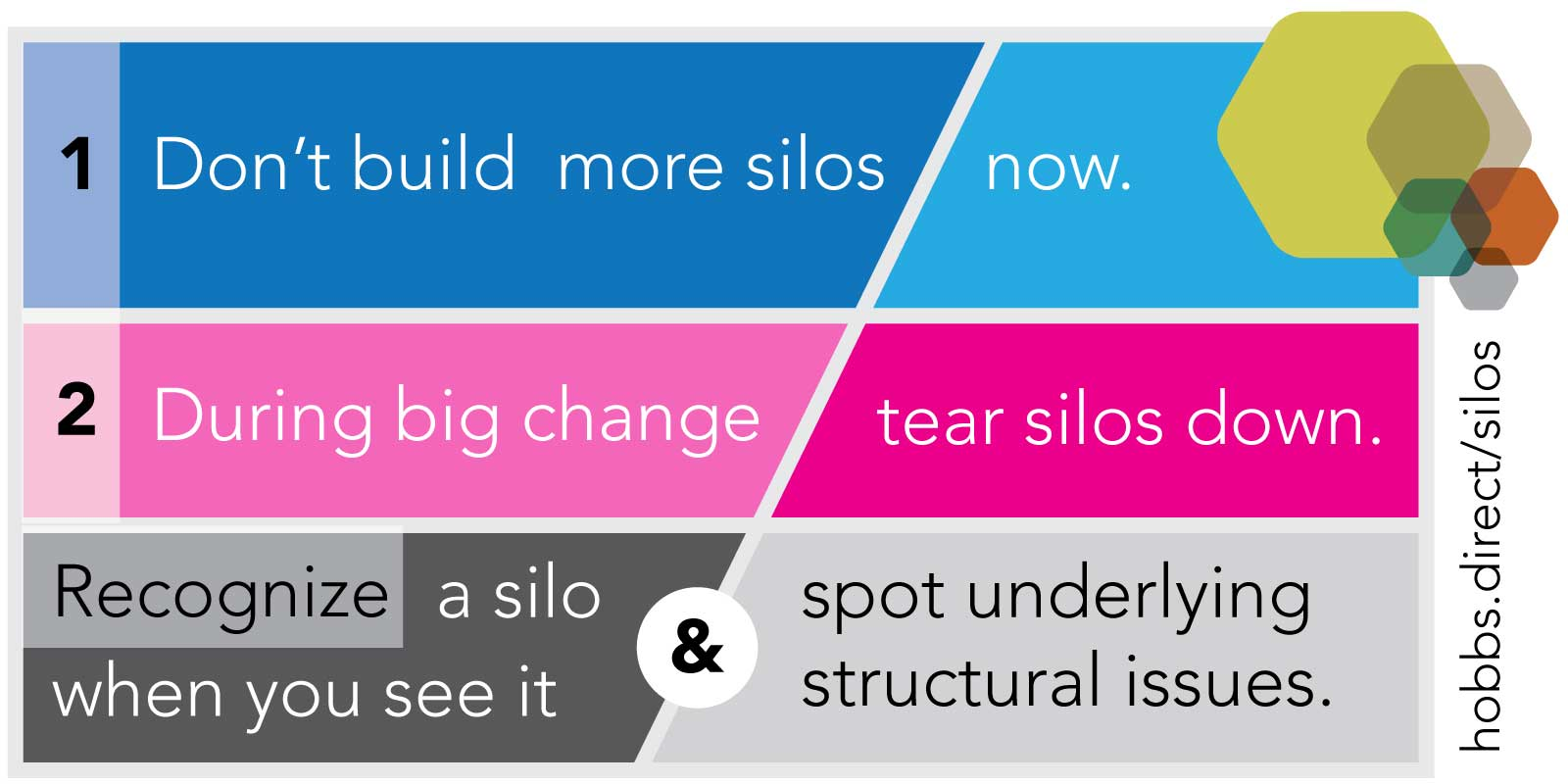 Right now, don't build more silos. When you make big changes, break silos down.